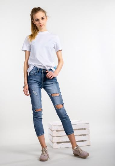 Spodnie jeansowe skinny z dziurami Ake