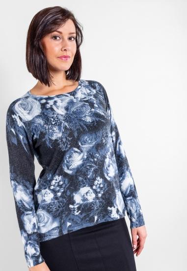 Wzorzysty sweter z diamencikami Blue Enemy