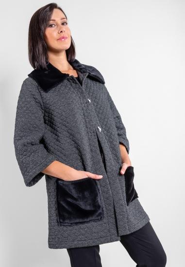 Płaszcz z dzianinowej tkaniny Ella Lu - 00311 SZARY