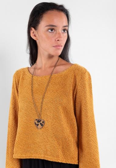 Szenilowy sweter z naszyjnikiem Eks