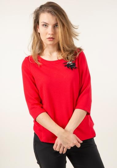 Prążkowany sweter ze wstążką Taifun