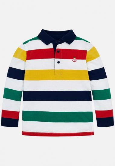 Koszulka w polo w paski chłopięca Mayoral