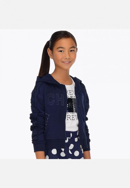 Bluza dziewczęca z aplikacjami i kapturem Mayoral