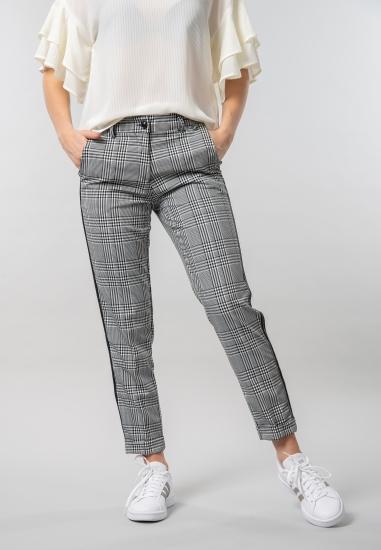 Spodnie w kratkę z lampasami Eks
