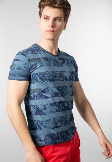 Wzorzysty t-shirt męski...