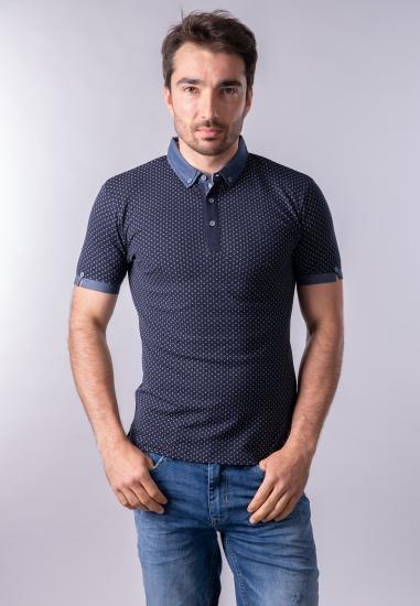 Męski t-shirt polo we wzory...