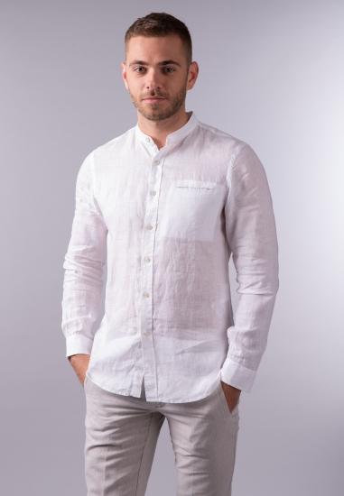 Lniana koszula męska ze stójką Gas