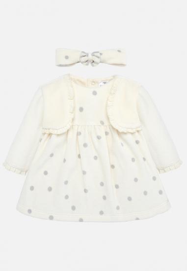 Sukienka w groszki z opaską dla dziewczynki Mayoral Newborn - 00420 ECRU-SZARY