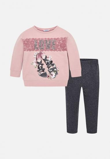 Komplet dla dziewczynki koszulka + legginsy Mayoral - 00886 ROZ-ANTRACYT