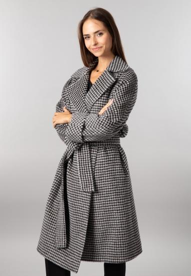 Wełniany płaszcz damski w pepitkę Martellini