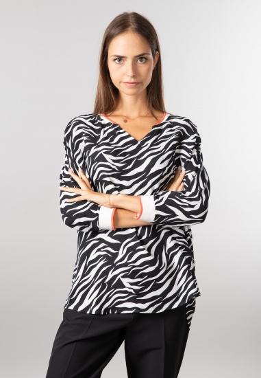 Bluzka ze wzorem w zebrę Street One - 00220001 CZARNY