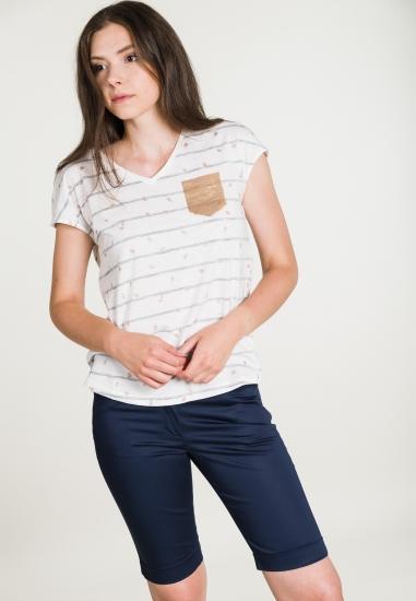 Bluzka w paski z cekinową kieszonką STREET ONE