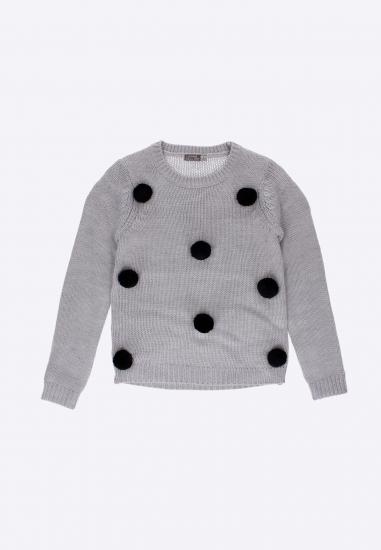 Sweter z pomponami LOSAN - 003582 SZARY