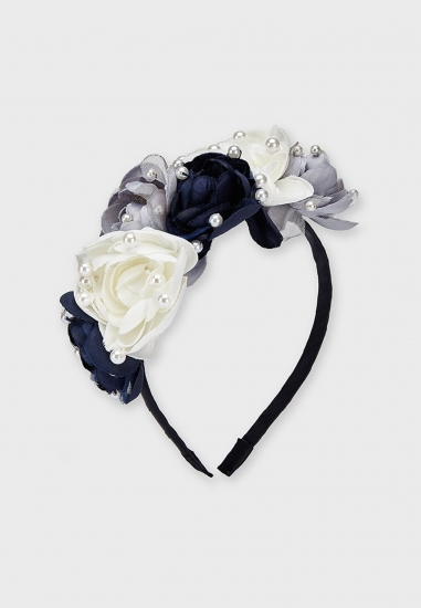 Opaska z kwiatami i perełkami dla dziewczynki Mayoral